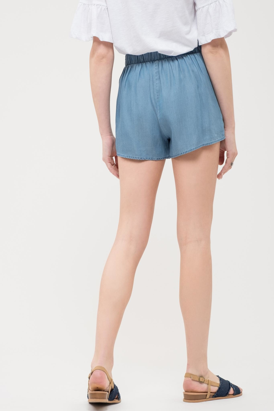 Blu Pepper Chambray Embroidered Shorts - Front Full Image