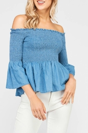 Apricot Lane Chambray Off-The-Shoulder Top - Product Mini Image