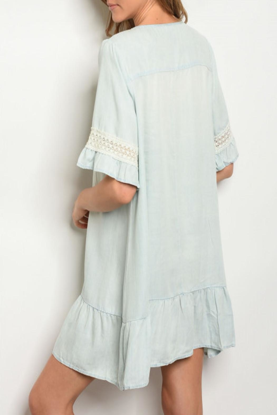 easel Chambray Ruffle Dress - Front Full Image