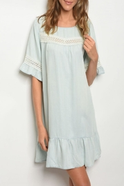 easel Chambray Ruffle Dress - Front cropped