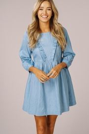 Listicle Chambray Ruffle Dress - Product Mini Image