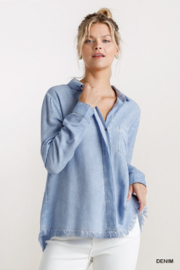 umgee  Chambray Shirt with Fringe Bottom - Front cropped