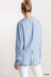 umgee  Chambray Shirt with Fringe Bottom - Front full body