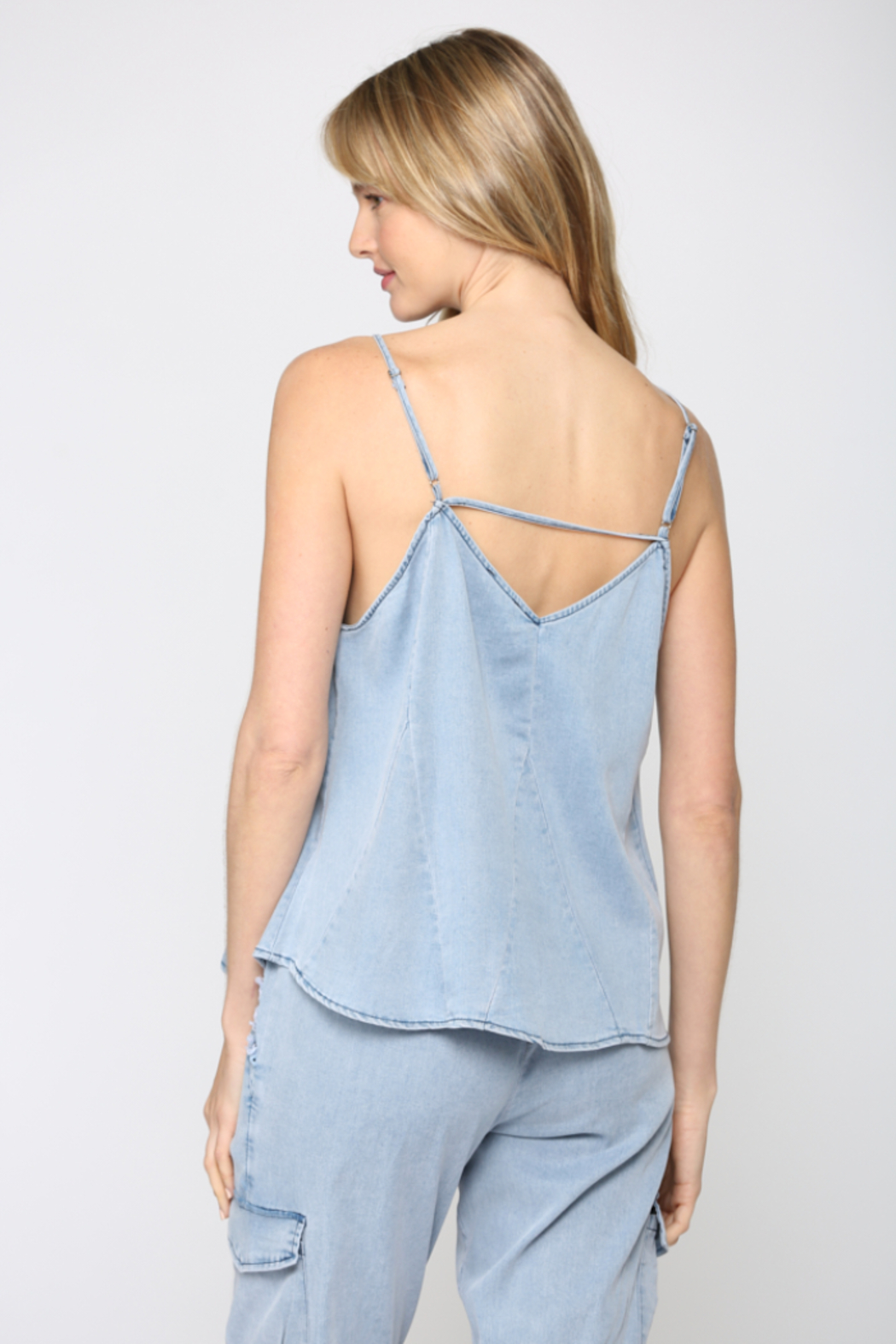 Fate Chambray Spaghetti Strap Top - Back Cropped Image
