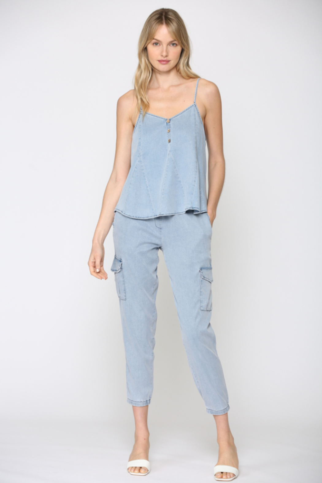 Fate Chambray Spaghetti Strap Top - Front Full Image
