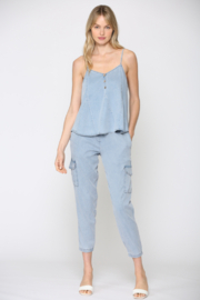 Fate Chambray Spaghetti Strap Top - Front full body
