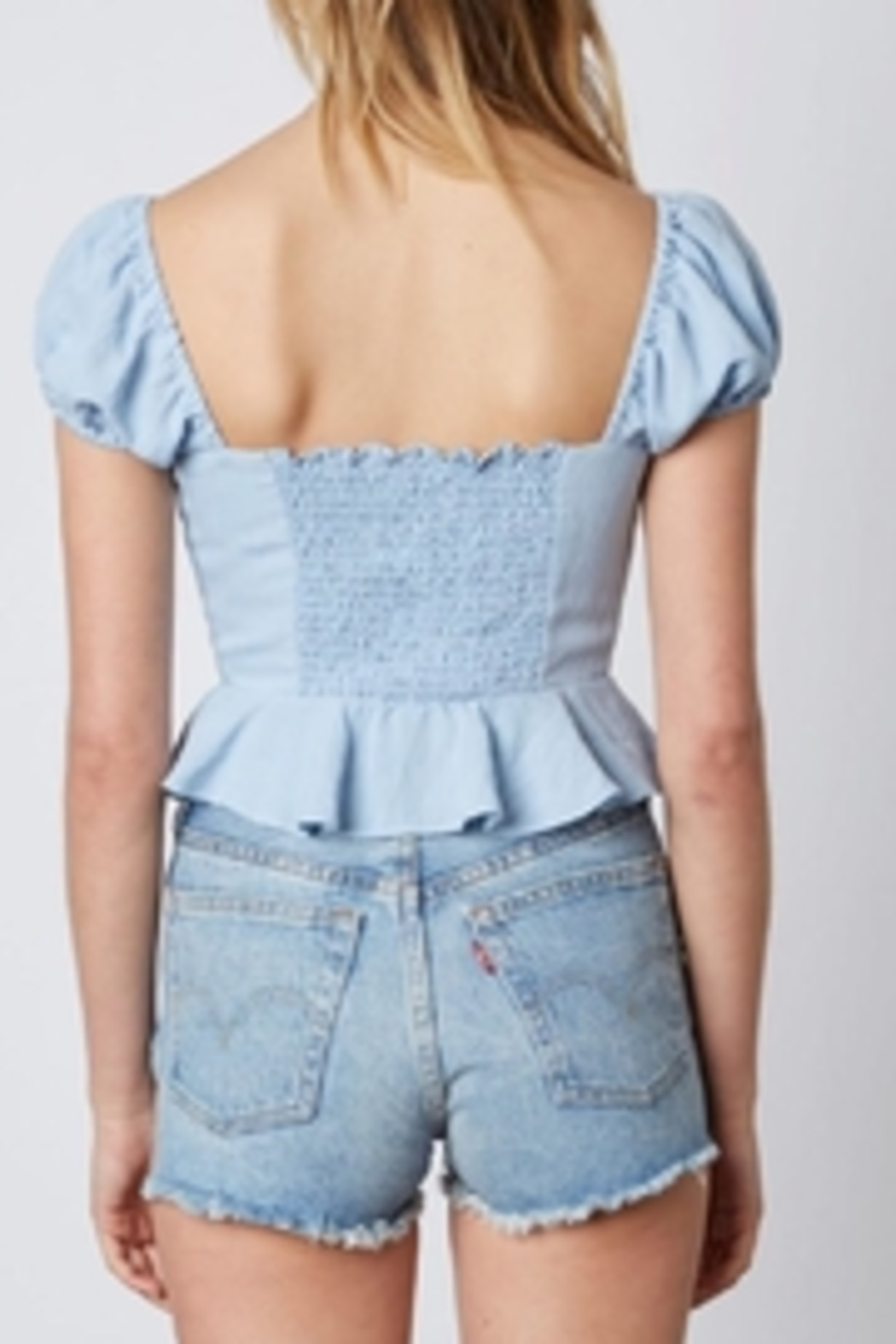 Cotton Candy LA Chambray Top - Back Cropped Image