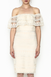 Champagne & Strawberry Cream Lace Dress - Front full body