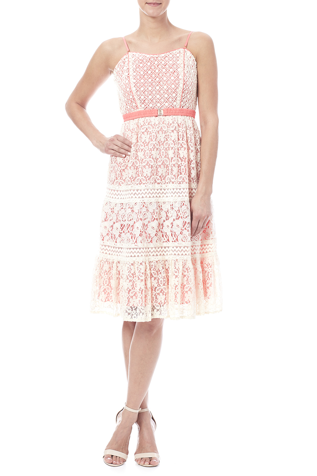 Champagne & Strawberry Lacy Coral Dress - Front Full Image