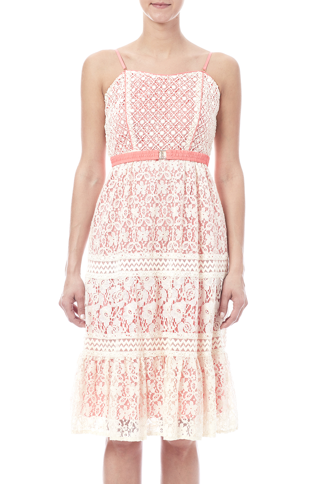 Champagne & Strawberry Lacy Coral Dress - Main Image