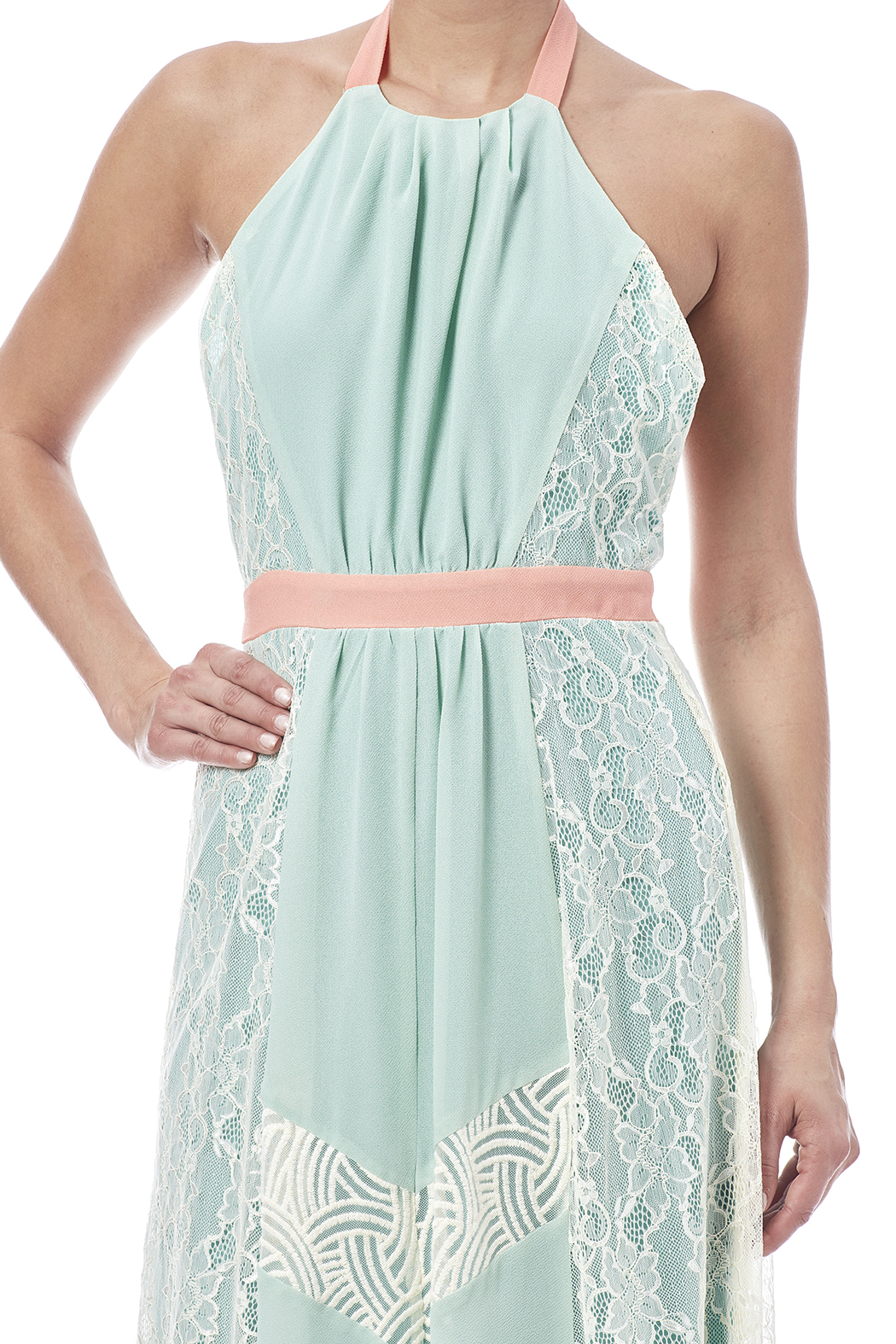 Champagne & Strawberry Mint Maxi Dress - Side Cropped Image