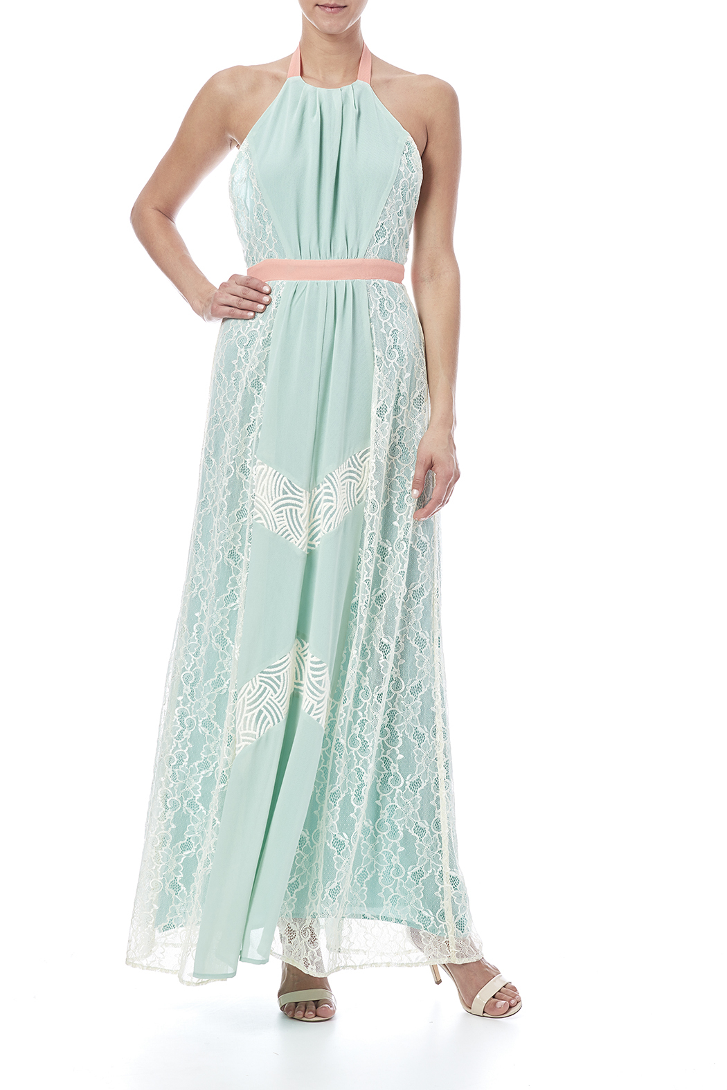 Champagne & Strawberry Mint Maxi Dress - Front Full Image