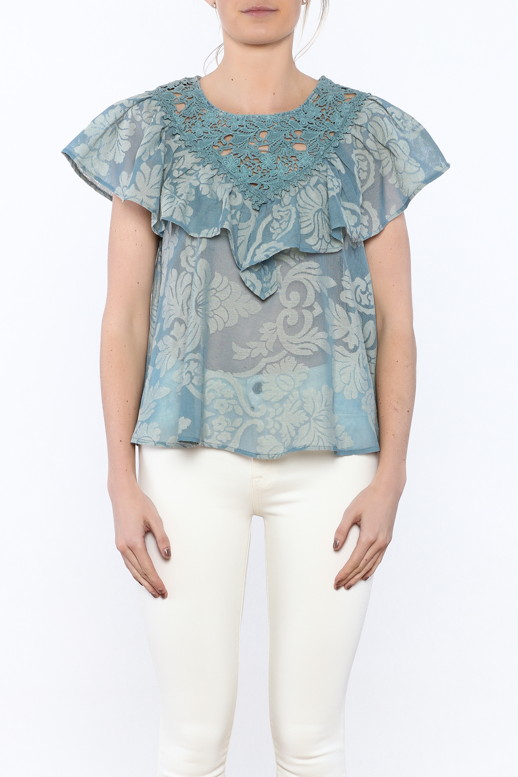 Champagne & Strawberry Serenity Blouse - Side Cropped Image