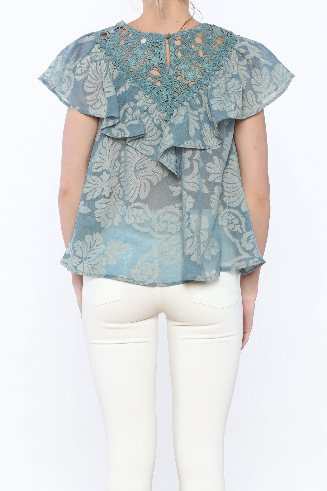 Champagne & Strawberry Serenity Blouse - Back Cropped Image
