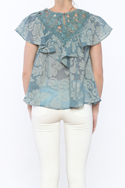 Champagne & Strawberry Serenity Blouse - Back cropped