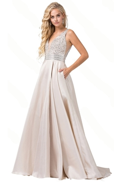 Shoptiques Product: Champagne A-Line Beaded Bridal Gown