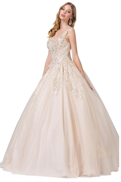 Shoptiques Product: Champagne Beaded Bridal Ball Gown