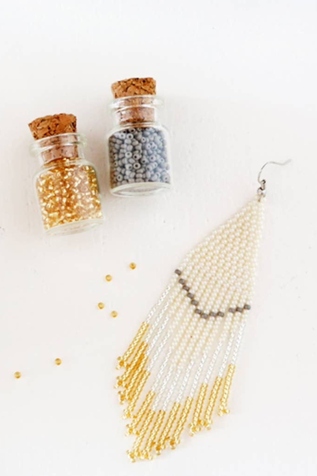 Fosterie  Champagne Beaded Earrings - Back Cropped Image