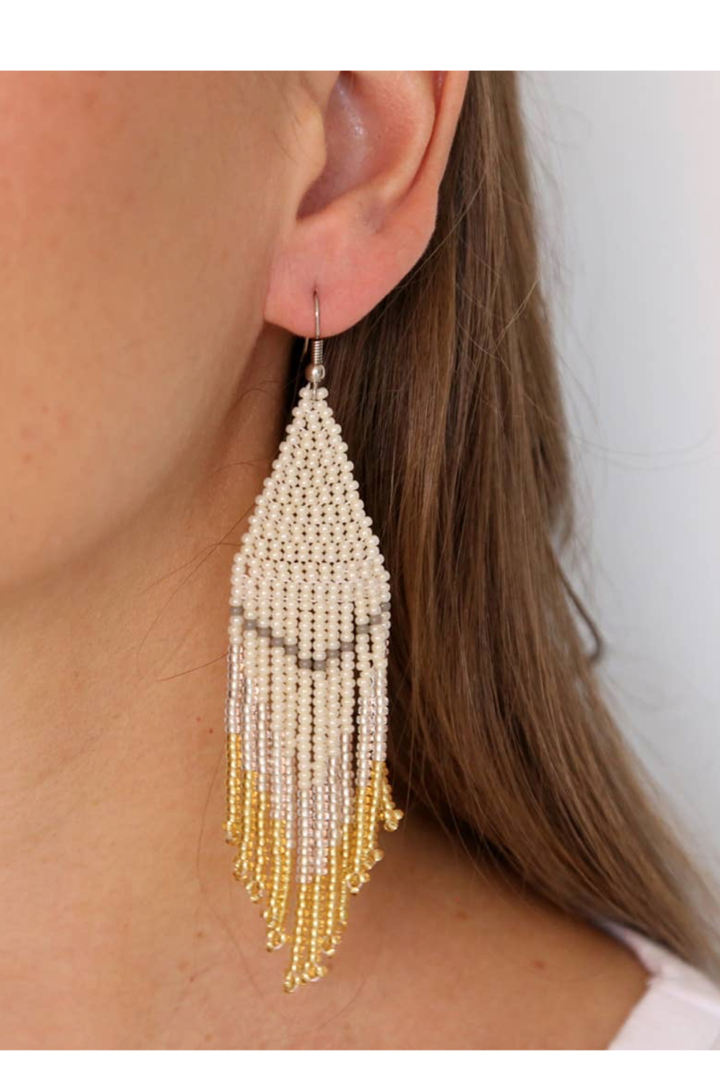 Fosterie  Champagne Beaded Earrings - Side Cropped Image