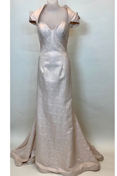 Mac Duggal CHAMPAGNE BROCADE CAP SLEEVE GOWN - Product List Image