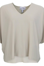 Joseph Ribkoff  Champagne chiffon top, Batwing style with 3/4 length sleeves - Product Mini Image