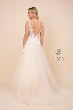 NOX A N A B E L Champagne Floral Embroidered Bridal Gown - Alternate List Image