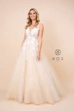 NOX A N A B E L Champagne Floral Embroidered Bridal Gown - Product List Image