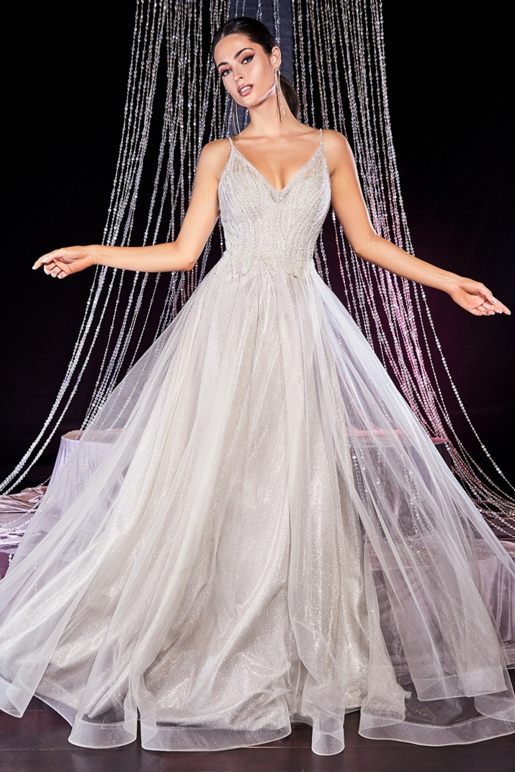 Cinderella Divine Champagne Glitter Bridal Ball Gown - Front Full Image