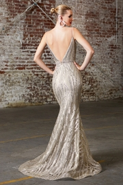 Cinderella Divine Champagne Glitter Fit & Flare Long Formal Dress - Front full body