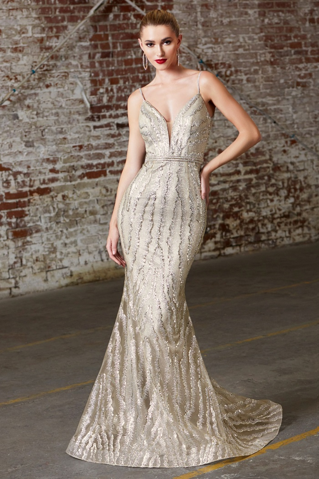 Cinderella Divine Champagne Glitter Fit & Flare Long Formal Dress - Front Cropped Image