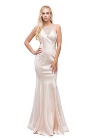 DANCING QUEEN Champagne Halter Fit & Flare Long Formal Dress - Product Mini Image