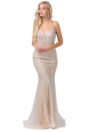 DANCING QUEEN Champagne Jewel Striped Fit & Flare Bridal Gown - Product Mini Image