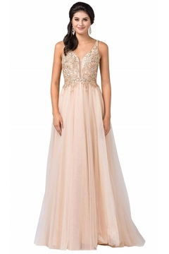 Shoptiques Product: Champagne Jeweled Beaded Bridal Gown
