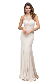 DANCING QUEEN Champagne Jeweled Halter Long Formal Dress - Product Mini Image