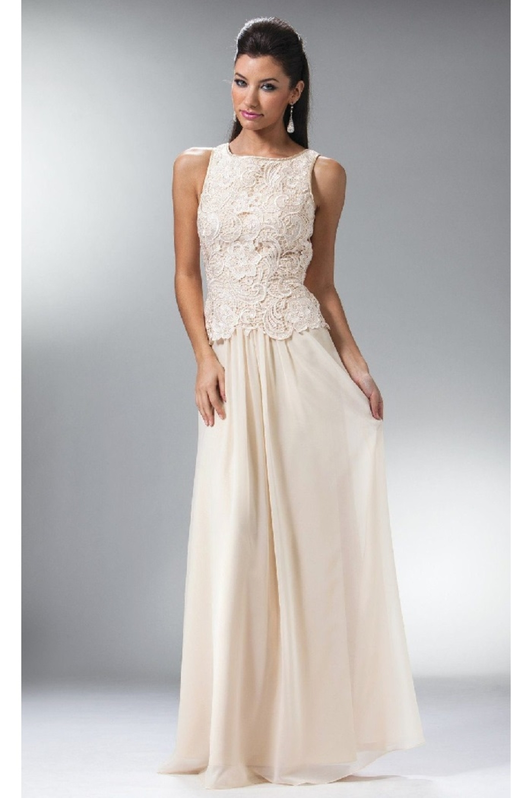 Cinderella Divine Champagne Lace Top Long Formal Dress - Main Image