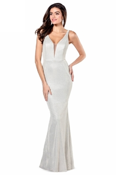 Flair New York Champagne Metallic Fit & Flare Long Formal Dress - Product List Image