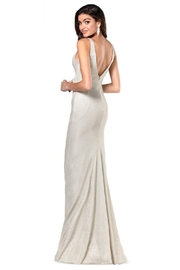 Flair New York Champagne Metallic Fit & Flare Long Formal Dress - Front full body