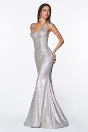 Cinderella Divine Champagne Metallic Fit & Flare Long Formal Dress - Front cropped