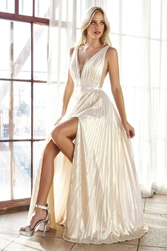 Cinderella Divine Champagne Metallic Pleated Bridal Gown - Product List Image