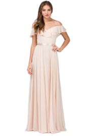 DANCING QUEEN Champagne Off Shoulder Long Formal Dress - Product Mini Image
