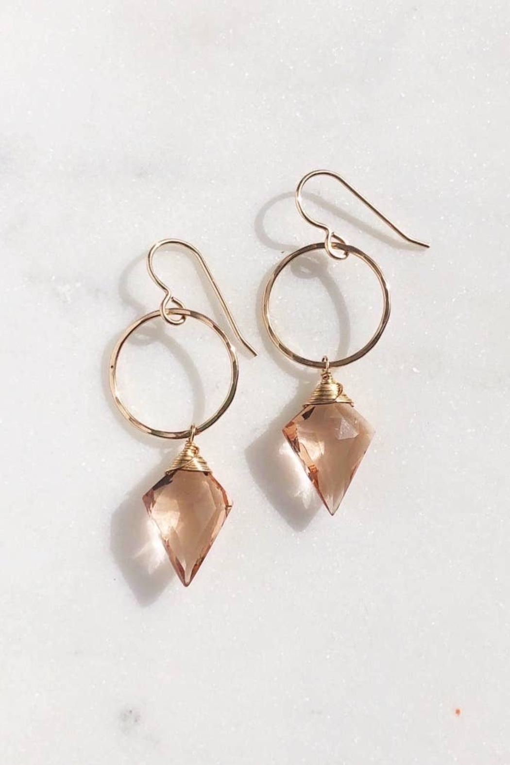 Token Jewelry  Champagne Quartz Drops - Main Image