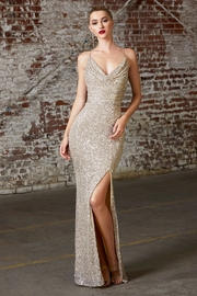 Cinderella Divine Champagne Sequin Cowl Neck Long Formal Dress - Front cropped