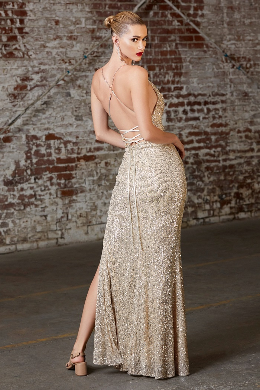 Cinderella Divine Champagne Sequin Cowl Neck Long Formal Dress - Front Full Image