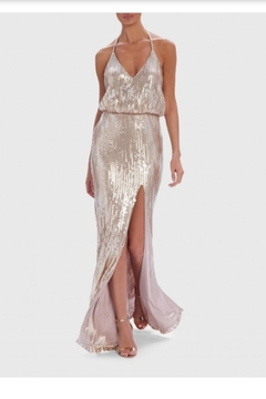 Forever Unique Champagne Sequin Maxi - Product List Image