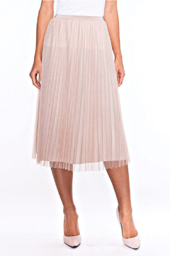 Alison Sheri  Champagne Shimmer Pleated Skirt - Product List Image