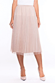 Alison Sheri  Champagne Shimmer Pleated Skirt - Product Mini Image