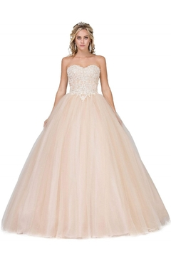 Shoptiques Product: Champagne Strapless Beaded Bridal Ball Gown
