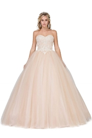 DANCING QUEEN Champagne Strapless Beaded Bridal Ball Gown - Product Mini Image