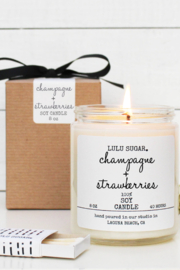 Lulu Sugar Champagne + Strawberries Soy Candle - Product Mini Image