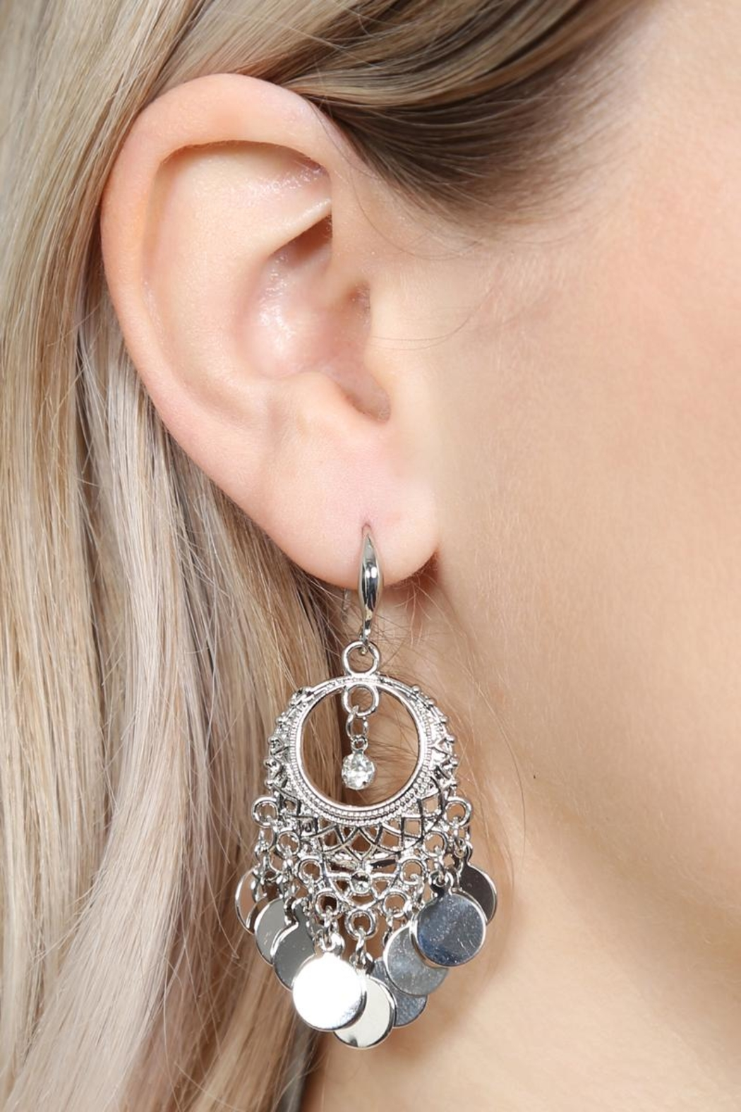 Riah Fashion Chandelier Dangling Earrings - Front Full Image